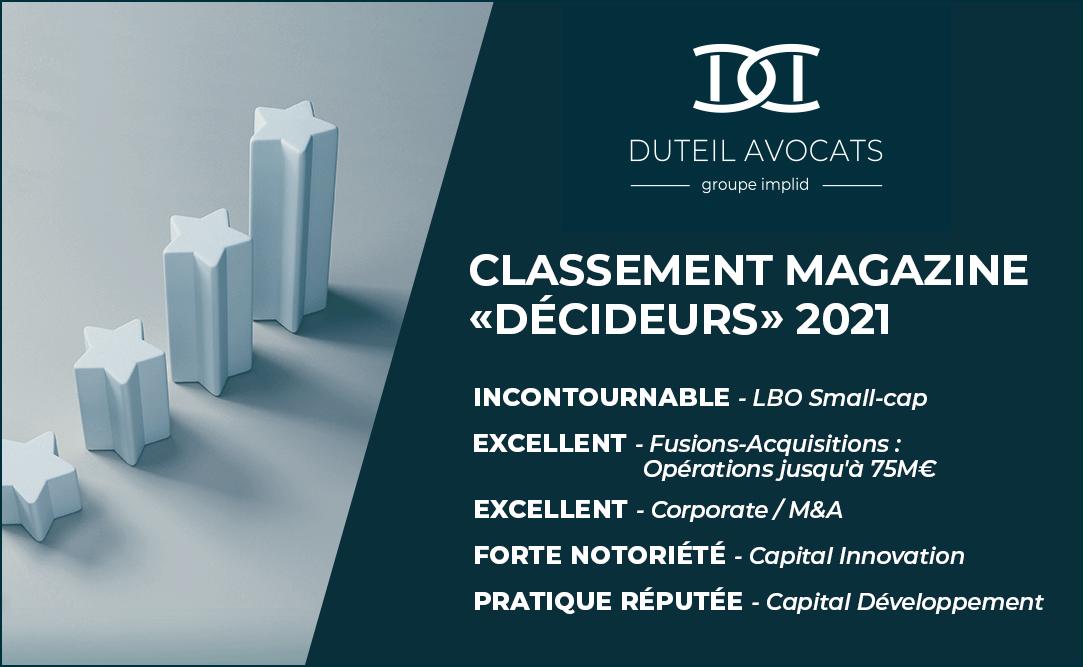 Classement Décideurs Magazine 2021 Duteil Avocats
